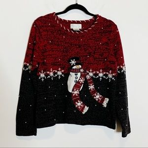Ugly Christmas Sweater Pearl Snowman Ramie 9J8